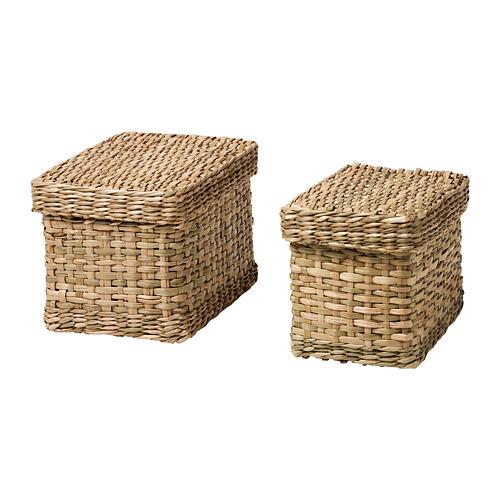 LURPASSA box with lid, set of 2