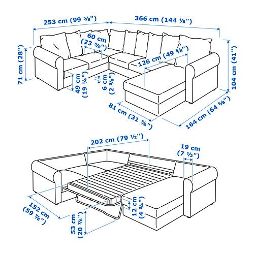 HÄRLANDA sofá cama esquina, 5 plazas