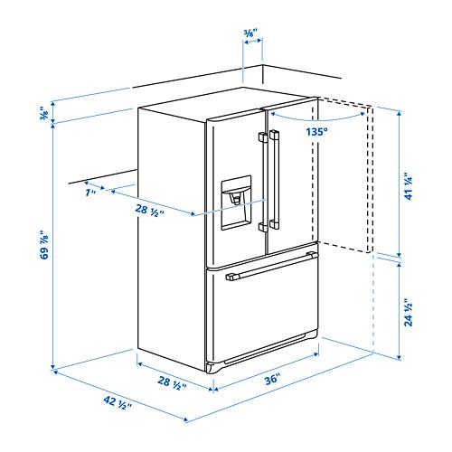 "STJÄRNSTATUS nevera con puerta francesa,36 ""x28 1/2 ""x69 7/8 """