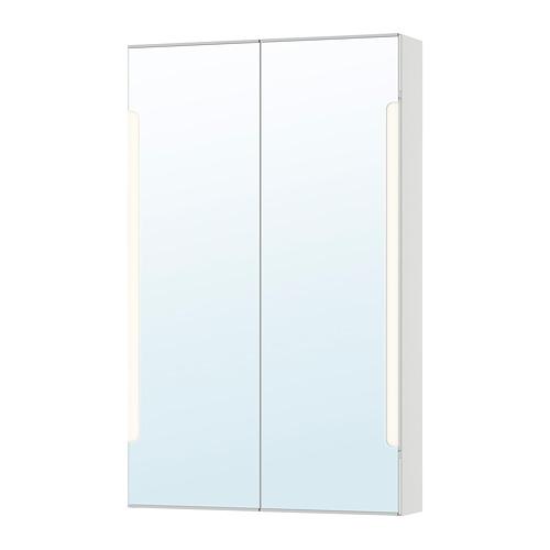 STORJORM armario con 2 puertas de espejo  e iluminación integrada