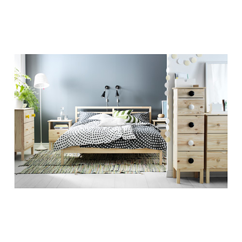 TARVA Full bed frame with Luröy slatted