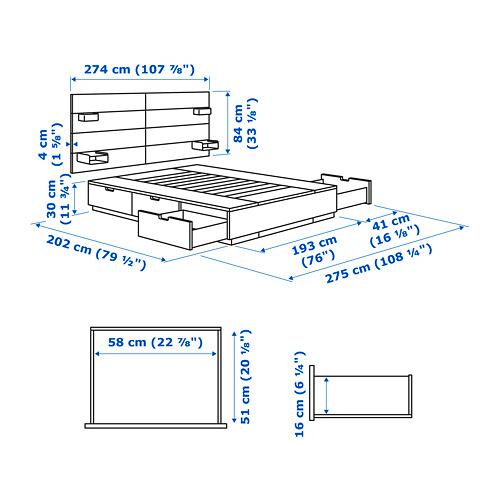 NORDLI estructura de cama con 6 gavetas y espaldar, king