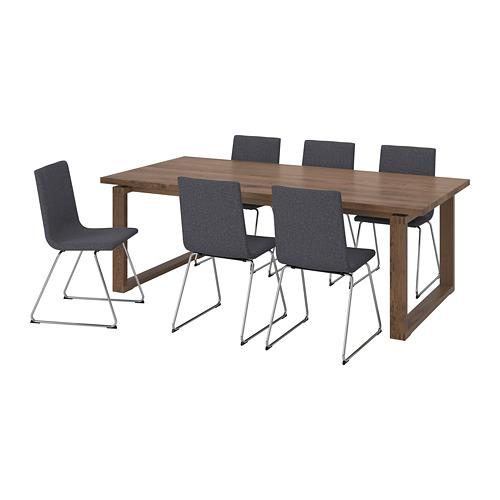 """VOLFGANG/MÖRBYLÅNGA mesa con 6 sillas, longitud máxima de la mesa 86 5/8"""""""