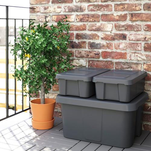 KLÄMTARE box with lid, indoor/outdoor