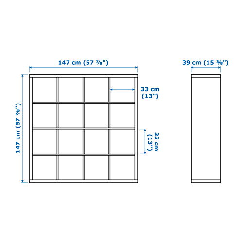"""KALLAX estantería, 57 7/8 """"x15 3/8 """"x57 7/8 """""""