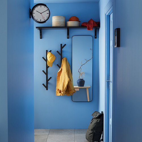TJUSIG set de decoración formado por 1 perchero, 1 espejo y 1 reloj de pared