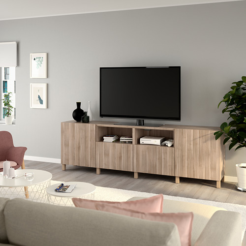 BESTÅ TV unit with doors and drawers