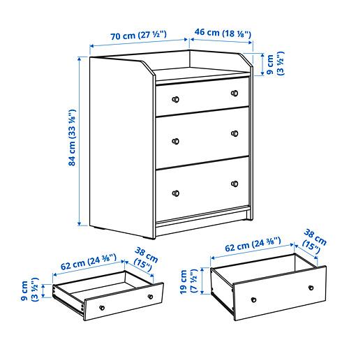 "HAUGA gavetero vertical de 3 gavetas, 27 1/2 ""x18 1/8 ""x33 1/8 """