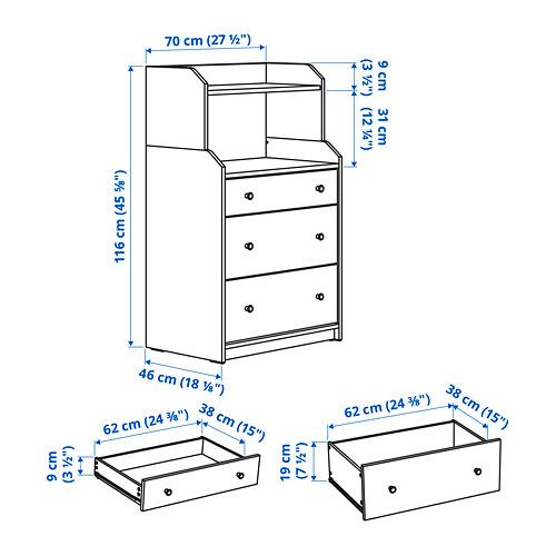 """HAUGA gavetero vertical de 3 gavetas con estante,27 1/2 """"x18 1/8 """"x45 5/8 """""""