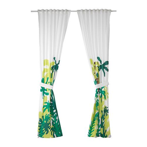 DJUNGELSKOG cortinas con tiras, 1 par