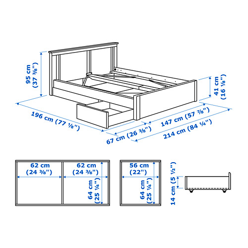 SONGESAND bed frame with 2 storage boxes