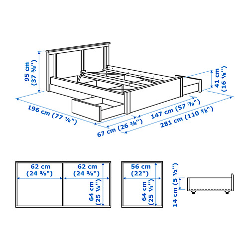 SONGESAND bed frame with 4 storage boxes