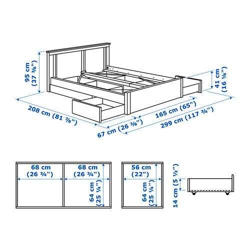 SONGESAND estructura de cama con 4 gavetas, queen