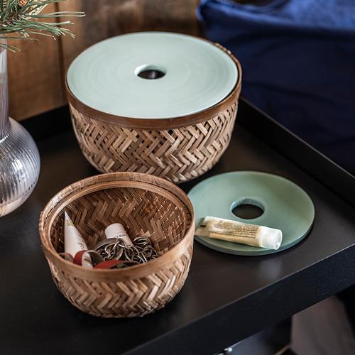 LUSTIGKURRE basket with lid, set of 2