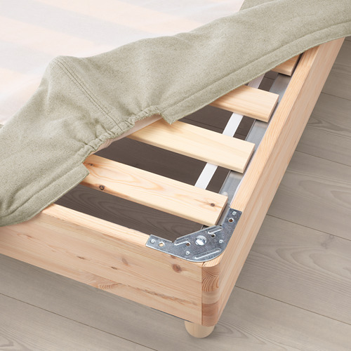 ESPEVÄR base de cama con tablillas, patas, funda natural y colchón, full