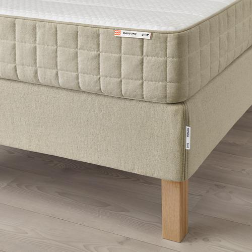 ESPEVÄR base de cama con tablillas, patas, funda natural y colchón, queen