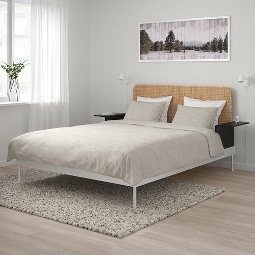 DELAKTIG estructura de cama con espaldar y 2 mesas de noche, queen