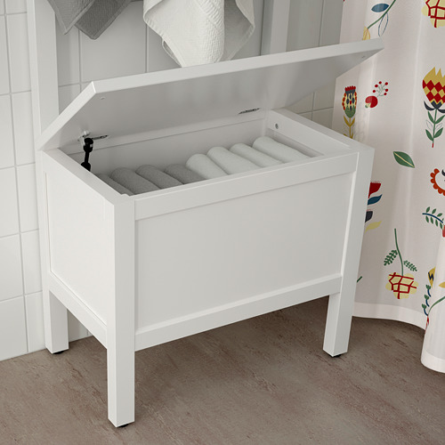 HEMNES storage bench w/towel rail+4 hooks