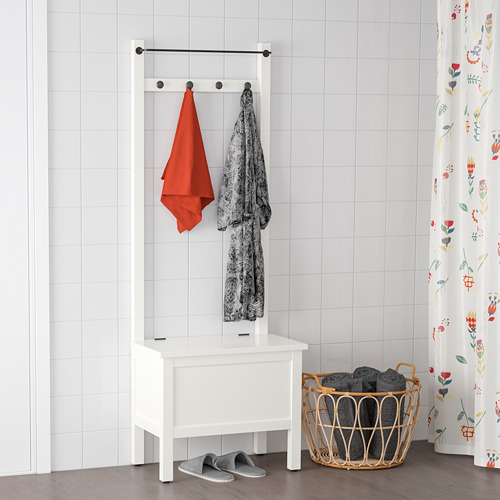 HEMNES banco almacenaje+toallero/4 ganchos
