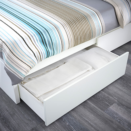 MALM Twin bed with Luröy slatted & 2 boxes