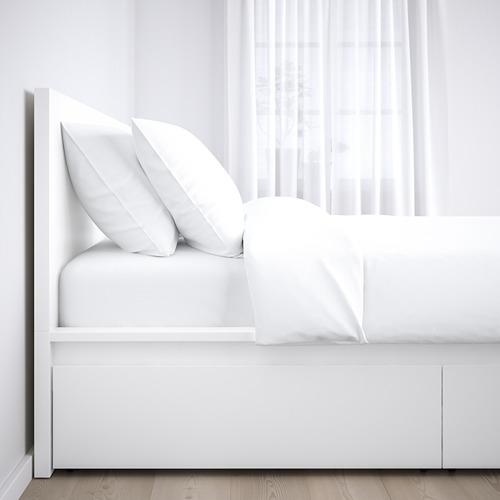 MALM King bed with Luröy slatted & 4 boxes