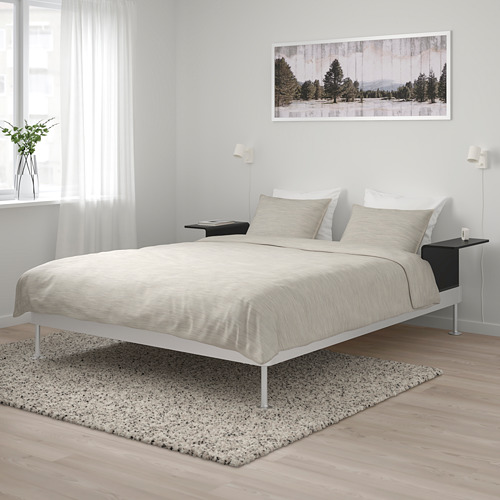 DELAKTIG bed frame with 2 side tables