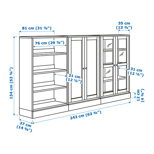 HAVSTA comb almacenaje+puertas de vidrio