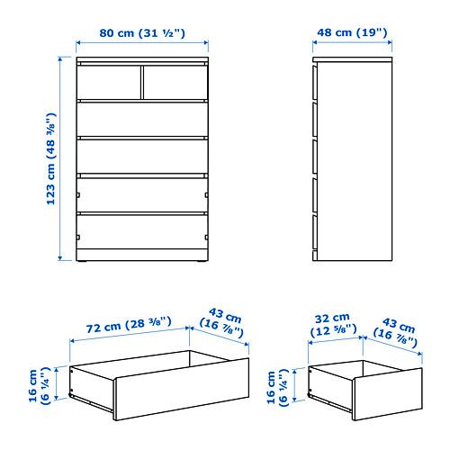 "MALM gavetero vertical de 6 gavetas,31 1/2""x18 7/8""x48 3/8"""