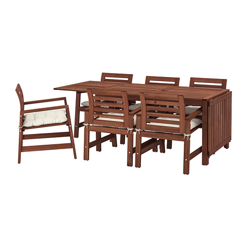 ÄPPLARÖ mesa+6 sillas reposabrazos, ext