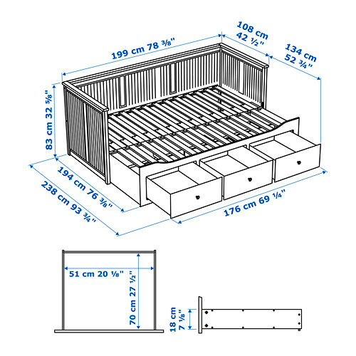 HEMNES daybed with 3 drawers/2 mattresses