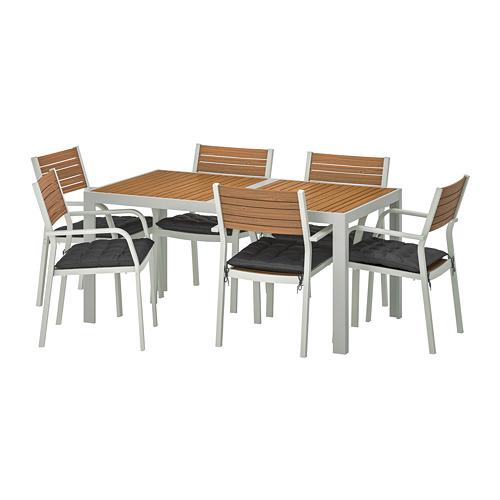 SJÄLLAND mesa+6 sillas reposabrazos, ext
