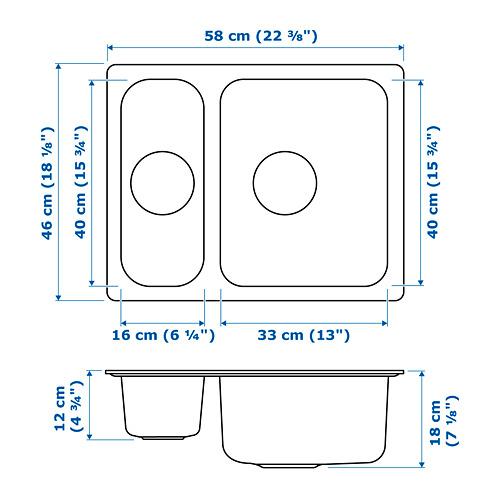 HILLESJÖN fregadero empotrado de 1 1/2 pilas y tapón con filtro