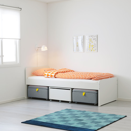 SLÄKT bed frame w storage + seat modules