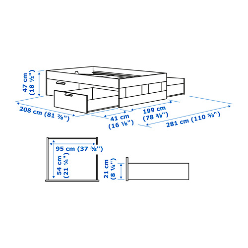BRIMNES bed frame with storage