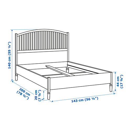 TYSSEDAL Full bed frame with Luröy slatted