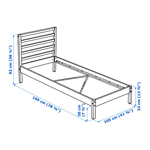 TARVA Twin bed frame with Luröy slatted