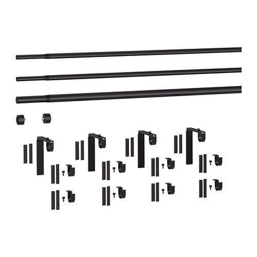 HUGAD/RÄCKA triple curtain rod combination
