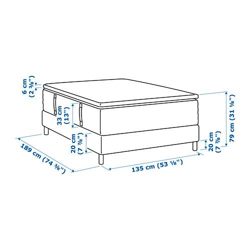 ESPEVÄR base de cama con tablillas, patas, funda natural, colchón y colchoncillo, full