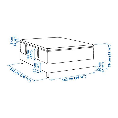 ESPEVÄR base de cama con tablillas, patas, funda natural , colchón y colchoncillo, queen,