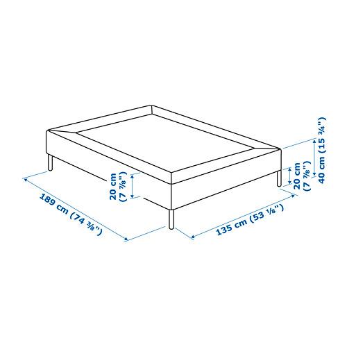 ESPEVÄR base de cama con tablillas patas, y funda gris oscuro, full