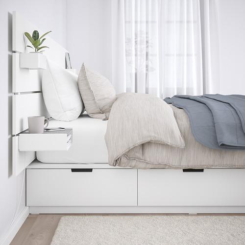 NORDLI estructura de cama con 6 gavetas y espaldar, queen