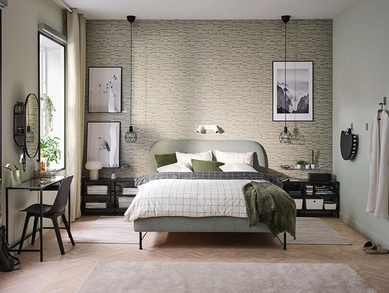 Un apacible dormitorio verde